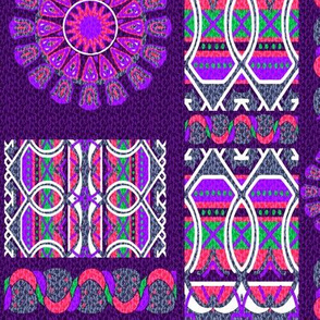 Bohemian Blooming Patch in Purple Pink and Green