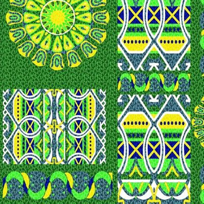 Bohemian Blooming Patch in Green Blue and Yellow