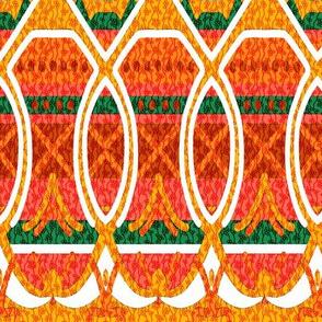 Bohemian Loopy Stripe in Orange and Green