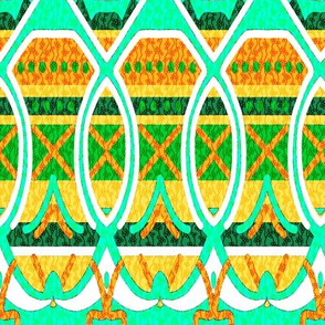 Bohemian Loopy Stripe in Yellow Orange and Seamist Green