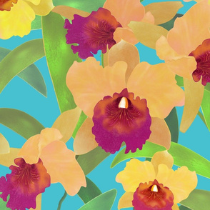 Yellow Cattleya on Turquoise 150