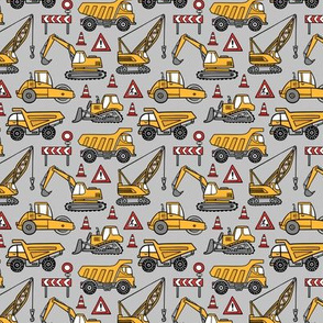 construction cars - light grey, mini