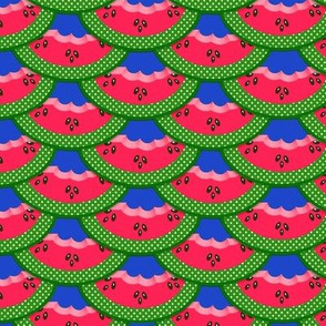 RED WATERMELON SLICES ON ROYAL BLUE
