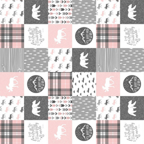 "(3"" small scale) Pink and Grey Fearfully and Wonderfully Made - Patchwork woodland quilt top (90) C19BS"