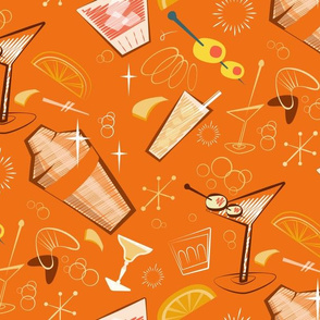 Orange mid-century atomic cocktail mix