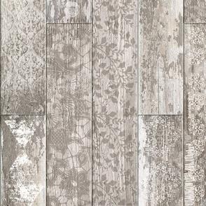 Vintage Wood Tiles Cream Beige Random