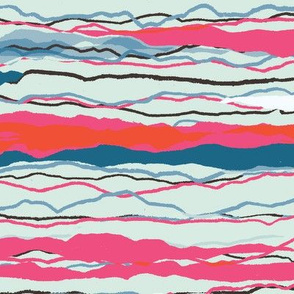 Rough pencil stripe in pink orange and blue