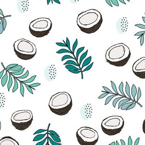 Tropical summer coconut palm leaves summer print gender neutral boys green teal