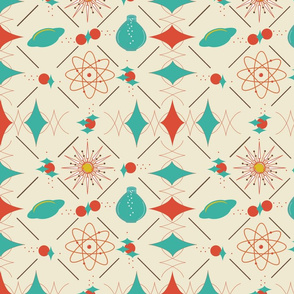 1055_Space_Angles and Space Ships_Coral _ Teal_Sweet Corn background_repeat pattern_trimmed_1 Block.fw