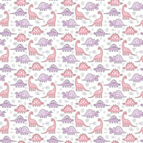tiny pink and white dinos