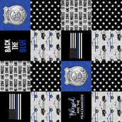 Police Patchwork - serve and protect -  Blessed are the peacemakers - thin blue line - back the blue wholecloth (90) C19BS