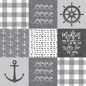 Nautical Patchwork - Mightier than the waves - Grey and White - Wave wholecloth - nautical nursery fabric LAD19
