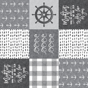 Nautical Patchwork - Mightier than the waves - Grey and White - Wave wholecloth - nautical nursery fabric (90) LAD19