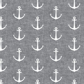 anchors on grey - nautical - LAD19