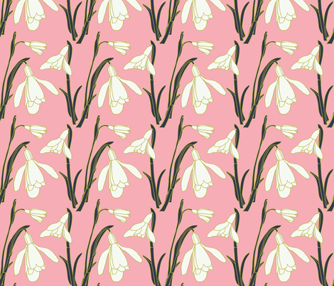 Snowdrops in Warm Pink and Greens fabric by kendrashedenhelm on Spoonflower - custom fabric