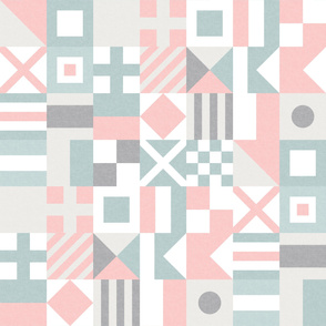 Nautical Flags Patchwork - Wholecloth - Pink and Blue - Maritime flags - LAD19