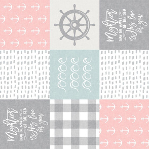 Nautical Patchwork (pink & blue)- Mightier than the waves -  Wave wholecloth - nautical nursery fabric (90)  LAD19
