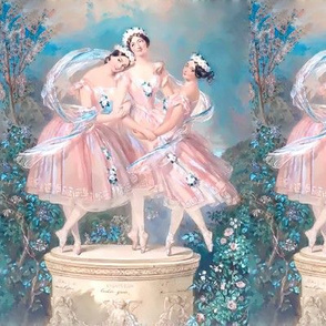 ballet ballerina dancing dancers beautiful women ladies lady smiling flowers floral crown garland roses sky clouds gardens troupe pastel pink blue green trees bushes pointe trio 3 company group performers seamless watercolor romantic shabby chic