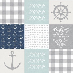 Nautical Patchwork (dark blue & blue)- Mightier than the waves - Wave wholecloth - nautical nursery fabric  LAD19