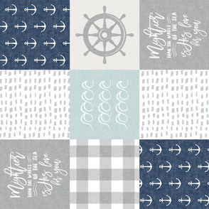 Nautical Patchwork (dark blue & blue)- Mightier than the waves - Wave wholecloth - nautical nursery fabric (90) LAD19