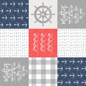 Nautical Patchwork (red and blue)- Mightier than the waves -  Wave wholecloth - nautical nursery fabric (90) LAD19