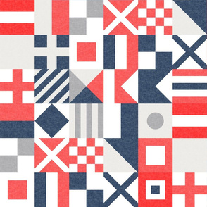 "(3"" small scale) Nautical Flags Patchwork - Wholecloth - Red and Blue - Maritime flags - LAD19"