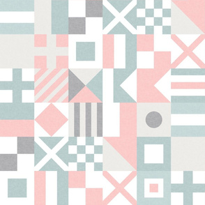 """(3"""" small scale) Nautical Flags Patchwork - Wholecloth - Pink and Blue - Maritime flags - LAD19"""