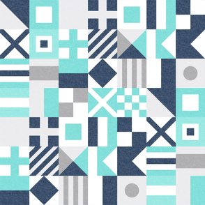 Nautical Flags Patchwork - Wholecloth - Teal and Blue - Maritime flags - LAD19