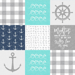 Nautical Patchwork (teal & blue)- Mightier than the waves - Wave wholecloth - nautical nursery fabric LAD19