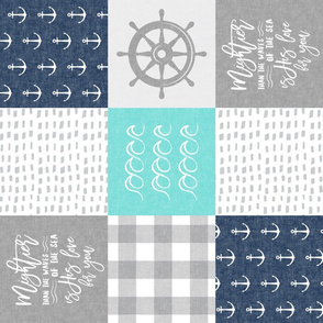 Nautical Patchwork (teal & blue)- Mightier than the waves - Wave wholecloth - nautical nursery fabric (90) LAD19