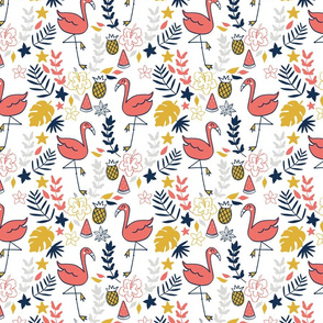 flamingo dance in coral and mustard