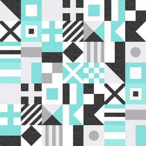Nautical Flags Patchwork - Wholecloth - Teal and Black - Maritime flags - LAD19