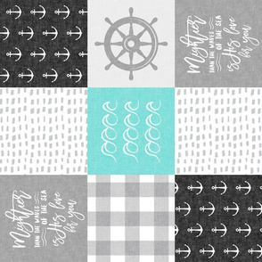 Nautical Patchwork (black and teal)- Mightier than the waves -  Wave wholecloth - nautical nursery fabric (90) LAD19