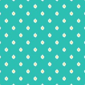 "4"" Aqua White and Yellow Print"