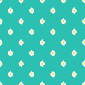 "8"" Aqua White and Yellow Print"