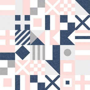 "(3"" small scale) Nautical Flags Patchwork - Wholecloth - Soft Pink and Navy - Maritime flags - LAD19"