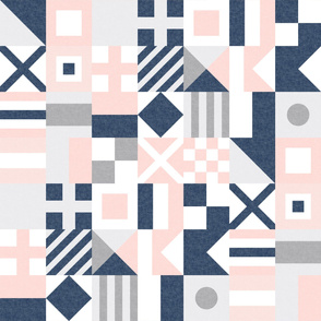 Nautical Flags Patchwork - Wholecloth - Soft Pink and Navy - Maritime flags - LAD19