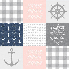 Nautical Patchwork (soft pink and navy)- Mightier than the waves -  Wave wholecloth - nautical nursery fabric  LAD19