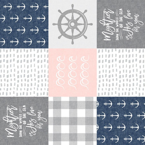 Nautical Patchwork (soft pink and navy)- Mightier than the waves -  Wave wholecloth - nautical nursery fabric (90) LAD19