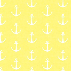 anchors on yellow - nautical - LAD19