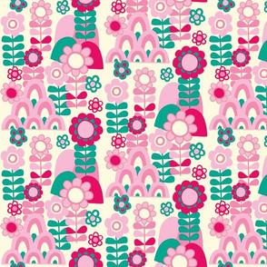 60's Floral Hills - pink