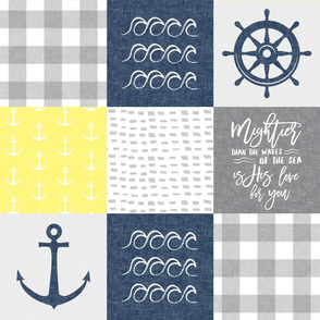 Nautical Patchwork (yellow & navy blue)- Mightier than the waves - Wave wholecloth - nautical nursery fabric LAD19