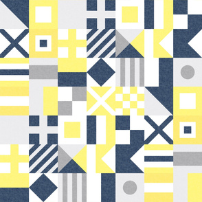 Nautical Flags Patchwork - Wholecloth - Yellow and Blue - Maritime flags - LAD19