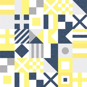 """(3"""" small scale) Nautical Flags Patchwork - Wholecloth - Yellow and Blue - Maritime flags - LAD19"""