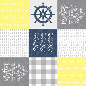 Nautical Patchwork (yellow & navy blue)- Mightier than the waves - Wave wholecloth - nautical nursery fabric (90) LAD19