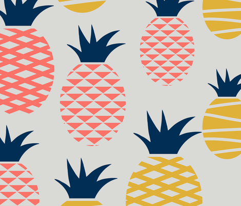 coral limited pineapples - 4 colors fabric by boots_and_belly on Spoonflower - custom fabric