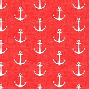 anchors on bright red - nautical - LAD19