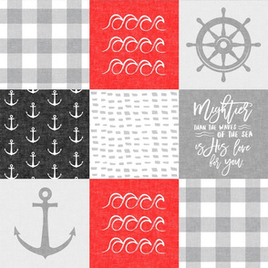 Nautical Patchwork (red and black) - Mightier than the waves - Wave wholecloth - nautical nursery fabric LAD19