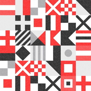 """(3"""" small scale) Nautical Flags Patchwork - Wholecloth - Red and Black - Maritime flags - LAD19"""