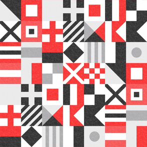 Nautical Flags Patchwork - Wholecloth - Red and Black - Maritime flags - LAD19